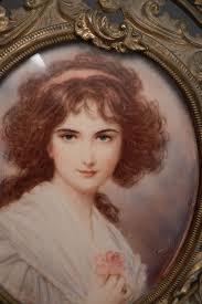 Gilt Bonze Enameled Portrait Antique 18th Century Style Miniature Portrait Gilt Brass