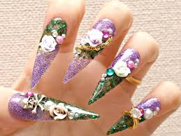 stiletto nails super long nails purple green 3d nails
