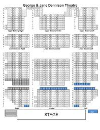 seating by venue griztix university of montana seating map dennison theatre