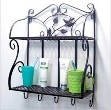Wrought Iron Bathroom Shelves Buy Wrought Iron Wall Hook Rack Perfume Bathroom Shelves In Cheap
