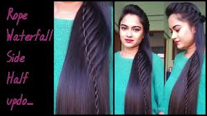 hairstyles for medium to long hair waterfal half updo