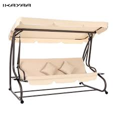hammock bench ikayaa uk stock dual use garden swing chair folding bed cushioned