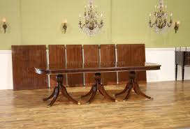 9 to 21 foot new american made triple pedestal dining table