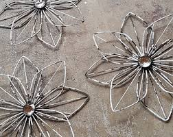 Metal Flower Wall Decor - 3 metal wall flowers garden wall art fence flowers outdoor