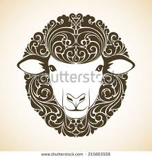 vintage template ornament decorative sheep symbol stock vector