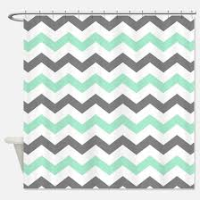Gray Chevron Shower Curtain Mint And Grey Chevron Shower Curtains Cafepress