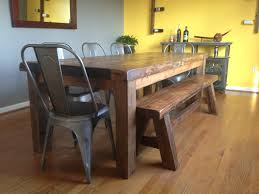 farmhouse table with metal chairs benches reclaimed wood furniture concepts created