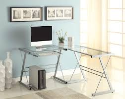 Large L Desk by Office Glass Office Desk Ideas Using Black Glass For Corner
