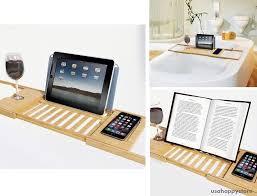 Bathtub Book Tray Bamboo Bathtub Caddy Tray Tablet Smartphone Cup Book Holder