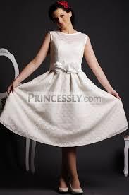 tea length wedding dresses uk line neck flowers belt satin lining dotted lace tea length