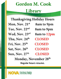 thanksgiving hours gordon m cook woodbridge cus library