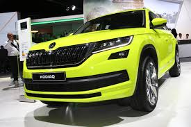 skoda kodiaq brings speed yellowgreen paint and door protectors to