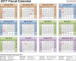 fiscal calendars 2017 as free printable pdf templates