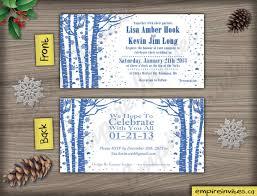 custom winter birchtree wedding invitations from winnipeg canada