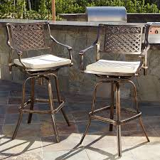 amazon com outdoor cast aluminum swivel bar stools w