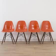 4 x set x herman miller vintage original eames orange side shell