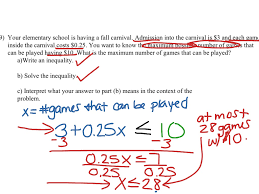 showme two steo inequality word problems