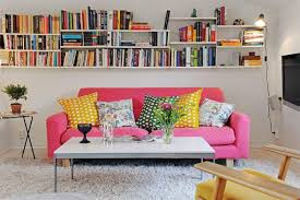 inspiring small living room ideas living room inspiration 807 simple but comfy small living room with shocking pink sofa and wall bookshelf idea