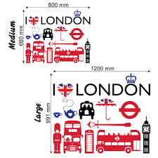 i love london wall stickers decals i love london wall stickers size chart