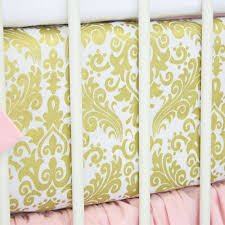 pollys pink gold damask baby bedding and nursery necessities in