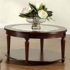 Table Designs Round Wood Coffee Table With Glass Top Foter
