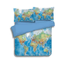 Minecraft Comforter Set Luxury World Map Bedding Set Vivid Printed Blue Bed Cover Twill