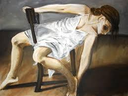 sur chaise peinture femme sur chaise