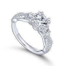 cushion ring edlynn 14k white gold cushion cut 3 stones engagement ring