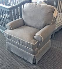 Swivel Glider Chair With Ottoman Best Chairs Quinn Swivel Glider In Mist With White Piping Stock