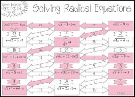 radical equations maze advanced solving equationsmath tutorteaching mathsquare rootsalgebra 2variablesmazeteacher stuffworksheets