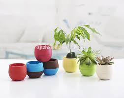 mini round plastic plant flower pot home office decor planter