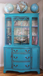 china cabinet blue china cabinet vintage cabinets painted for