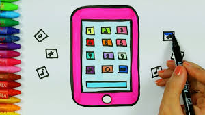 how to draw and color cell phone drawing and coloring mobile