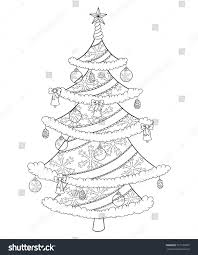 christmas tree coloring book isolated on stock vector 721725007