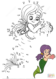 mermaid with a starfish dot to dot free printable coloring pages
