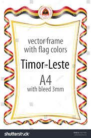 Uganda Flag Colours Frame Border Ribbon Colors Timorleste Flag Stock Vector 700714996