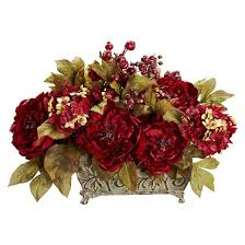 Faux Peonies Nearly Natural Peony U0026 Hydrangea Silk Flower Arrangement Target
