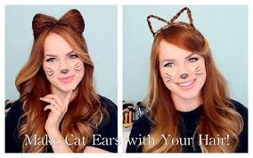 cute halloween cat makeup 2 ways to make cat ears with your hair youtube