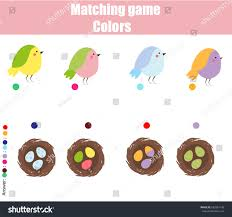 educational children game matching game worksheet stock vector