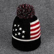 American Flag Beanie Big Pom Pom Knitted Beanie Winter Hat Shoplifo Com