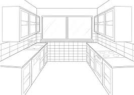Interior House Drawing Kitchen Magnificent Kitchen Room Drawing Interior Vector