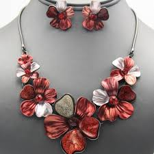 flower necklace set images Jewelry multicolor red flower necklace set poshmark jpeg