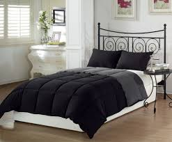 simple reversible black and grey king down comforter sets with