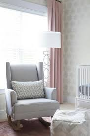 gray and pink nursery with gray wingback rocker