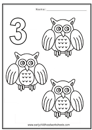 Coloring Numbers Birds Theme Number 3 Coloring Page
