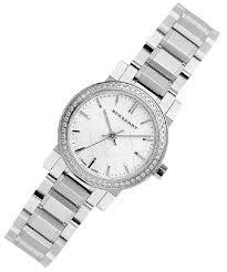 bracelet diamond watches images Burberry silver women 39 s swiss diamond accent steel bracelet bu9220 jpg