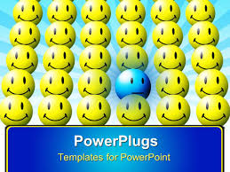 powerpoint template blue sad face in sea of yellow happy faces