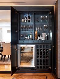 Glass Bar Cabinet London Hidden Liquor Cabinet Home Bar Contemporary With Lighting