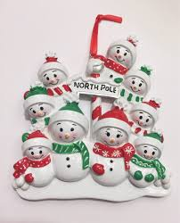 9 family personalized christmas ornament 9 snowmen snowman