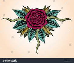 rose tattoo style decorative hand drawn stock vector 214106233